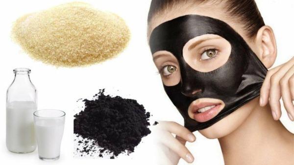 маска с желатином и активированным углем